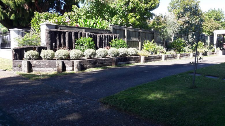 Lewis Landscaping - Rotorua - Raised retaining garden bed made with old hardwood railway sleepers - 1