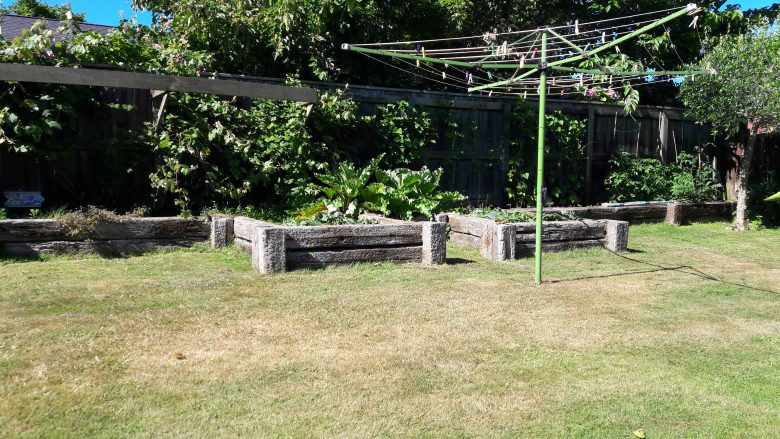 Lewis Landscaping - Rotorua - Raised retaining garden bed made with old hardwood railway sleepers - 2