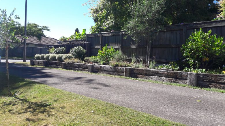 Lewis Landscaping - Rotorua - Raised retaining garden bed made with old hardwood railway sleepers - 3