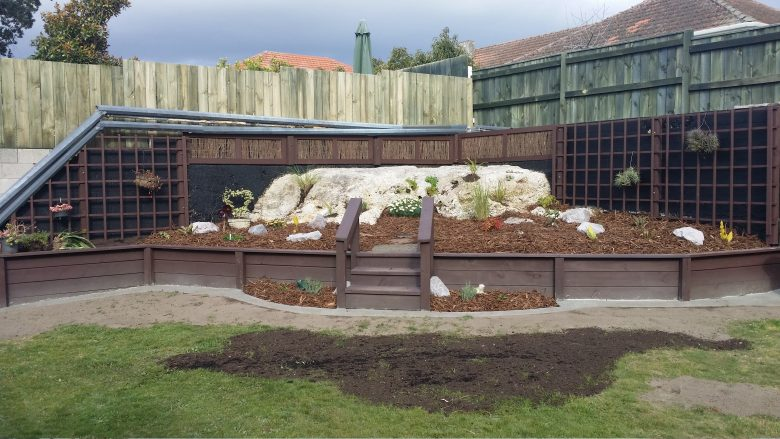 Lewis Landscaping - Rotorua - Rock raised retaining garden - after